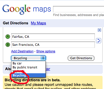 Bicycling directions user interface