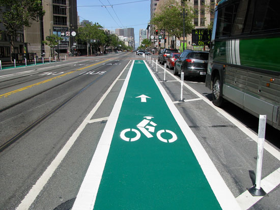 Colored Bike Lane on Market St.