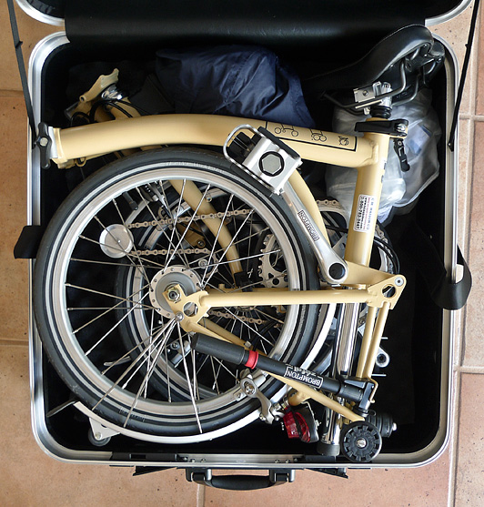 Brompton folded in hard shell case